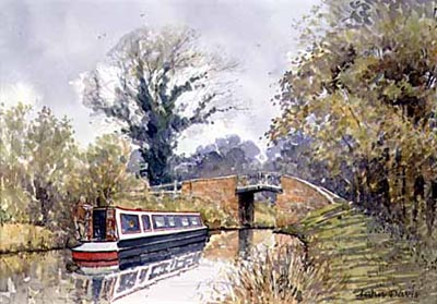 A Split Bridge, to the north of Stratford in watercolour by John Davis©