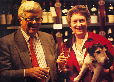 Lord and Lady Howe in Shipston's Wine Cellars