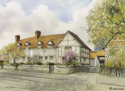 Mary Arden's House, Wilmcote - A Watercolour by John Davis ©