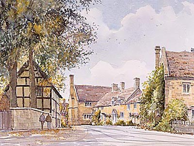 Stanton Village - a watercolour by John Davis (c)