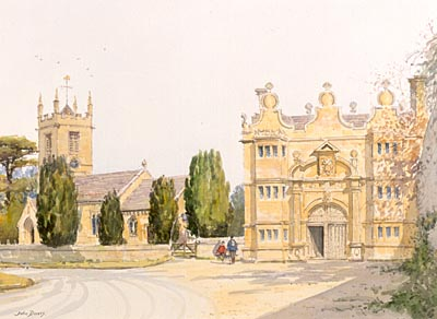 Stanway, Cotswolds - a watercolour by John Davis
