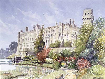 Warwick Castle - a watercolour by John Davis (c)